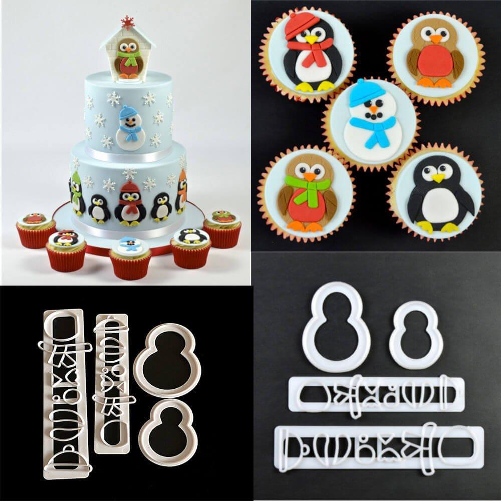 4pcs Penguin Plastic Fondant Cake Cutters Little Penguin