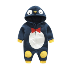 Hooded Penguin Baby Romper with Bowtie