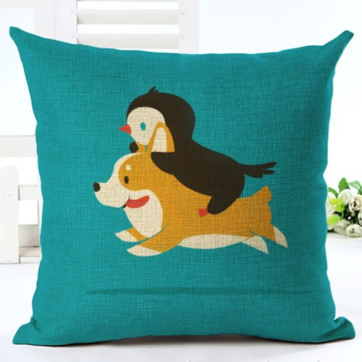 Penguin and Dog Cushion Cover