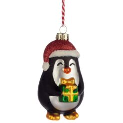 Penguin with Present Glass Christmas Bauble Decoration